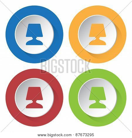 Set Of Four Icons With Lamp