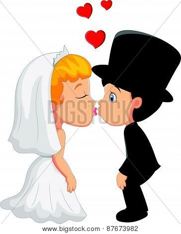 Cartoon A groom and fiancee kiss each other