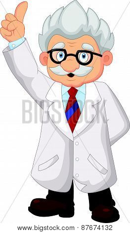 Professor cartoon pointing his hand
