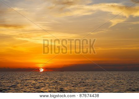 Sunrise Boat  And Sea In Thailand Kho Tao  South China Sea