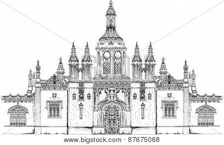 King's collage main entrance gate. Cambridge. Sketch collection