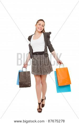 Young pretty girl with shopping bags
