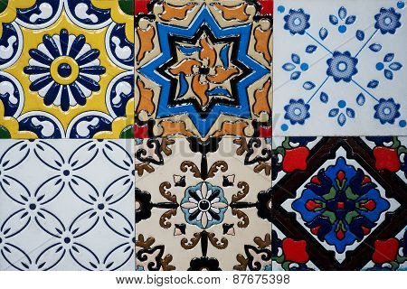 Beautiful old wall ceramic tiles patterns handcraft from thailand public.