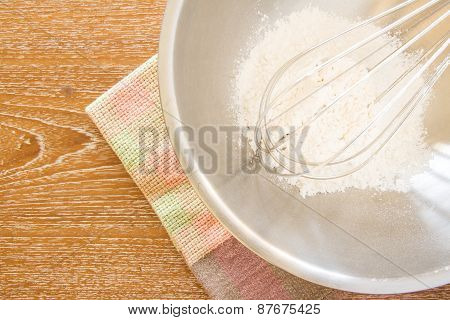 Wire Whisk In Mixing Bowl, And Cloth