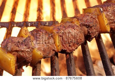 Bbq Beef Kebab On The Hot  Flaming Grill