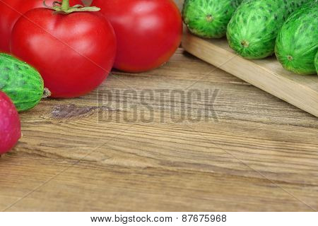 Vegetable Salad Ingredients On The Wood Cutting Board