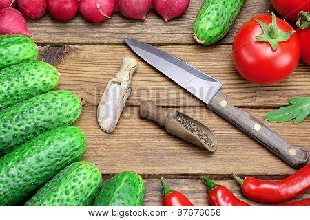 Fresh Vegetables, Knife, Pepper, Salt On The Wood Background