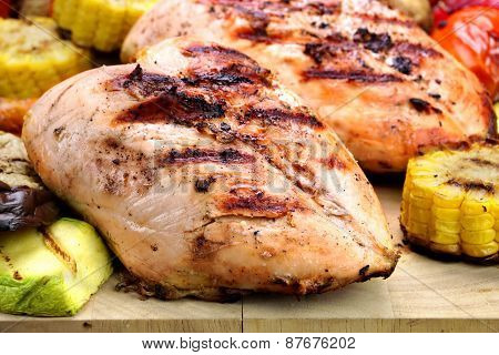 Grilled Chicken White Meat And Vegetables Close-up