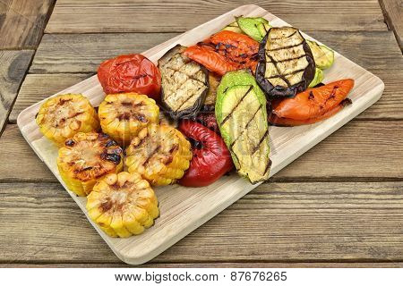 Grilled Vegetables On The Wood Table Background