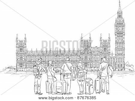 Big Ben and Houses of Parliament with tourists, London UK. Sketch collection