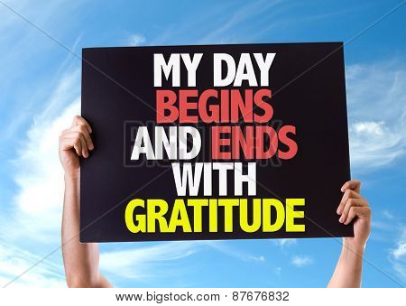 My Day Begins and Ends with Gratitude card with sky background