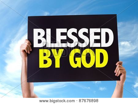 Blessed By God card with sky background