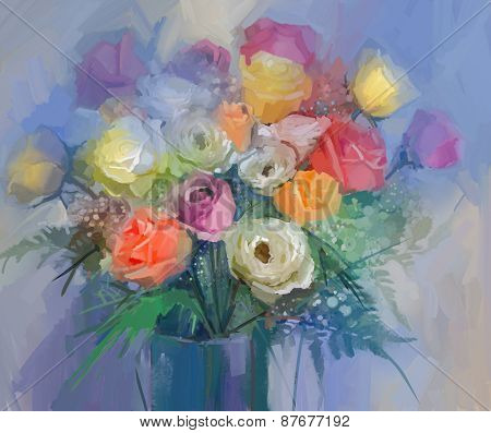 Still life a bouquet of flowers.Oil painting red and yellow rose flowers in vase