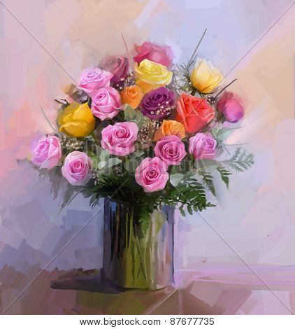 Still life a bouquet of flowers. Oil painting