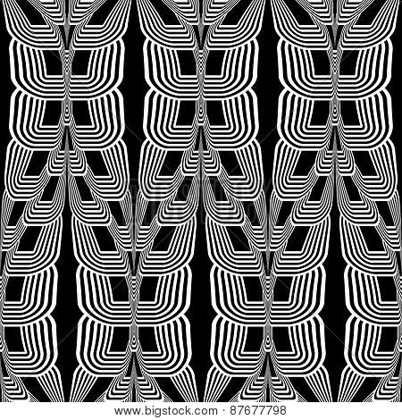 Design Seamless Monochrome Wave Striped Pattern