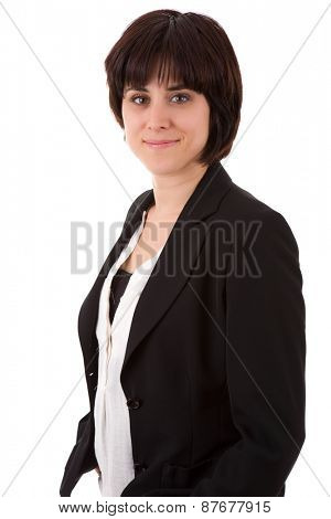 young casual beautiful business woman, isolated in white