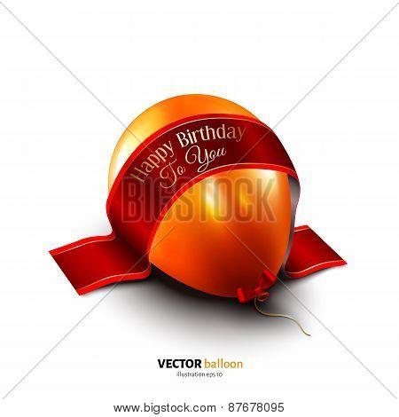 Birthday balloon with satin ribbon isolated on white background.