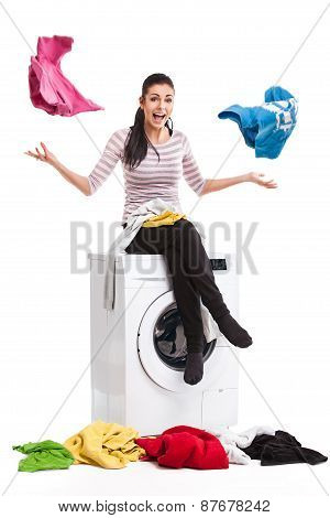Studio Photo Of Woman Launderers Clothes