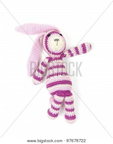 Funny Knitted Rabbit Toy Showing Right Direction
