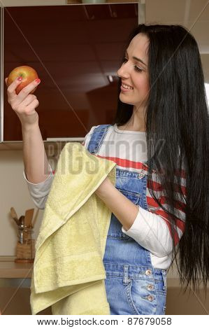 Housewife Brunette In Home Clothes Wipes Apple Green Towel