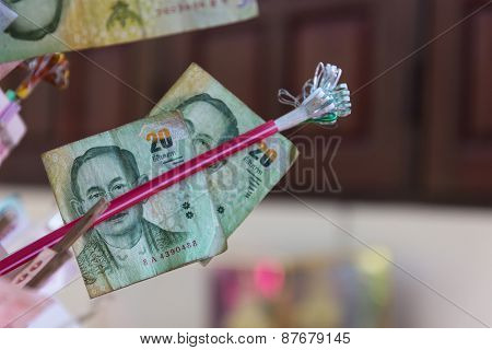 Thailand Twenty Baht Banknote That Buddhist People Donate For Temple