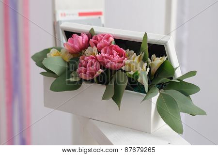 White Box With Decorative Flowers