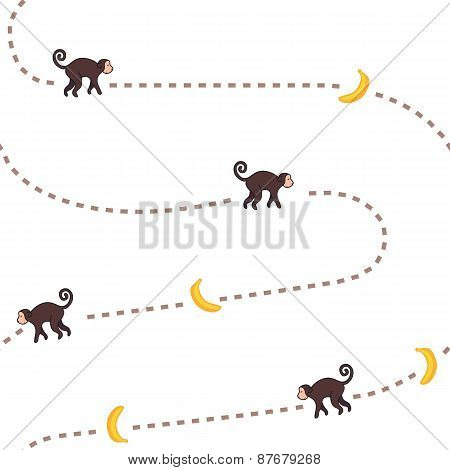 Funny monkey chasing bananas vector seamless pattern