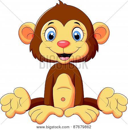 Cartoon cute monkey sitting