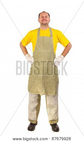 Worker wearing apron.