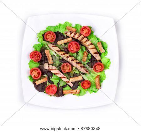 Caesar salad close up.