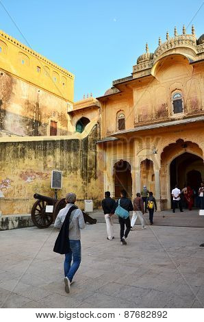 Jaipur, India - December 30, 2014: Tourist Visit Traditional Architecture, Nahargarh Fort In Jaipur.