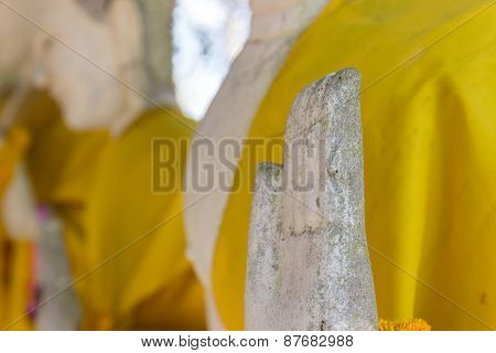 Hand Of Old Buddha Statue With Yellow Robe