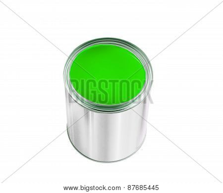 Open Tin Can With Green Paint Isolated On White