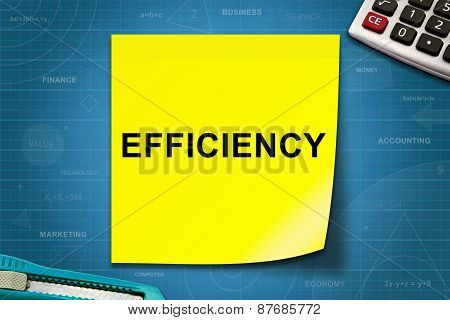 Efficiency Word On Yellow Note
