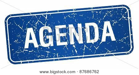 Agenda Blue Square Grunge Textured Isolated Stamp
