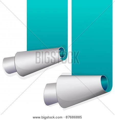 Turquoise sticker with curled up edge.