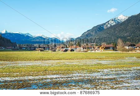 The Green Valley In Bavarian Alps Near Garmisch-partenkirchen To