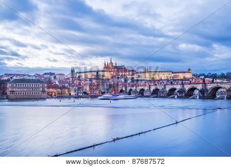 Evening View Of The Old Prague Castle, Charles Bridge And Mala Strana Side