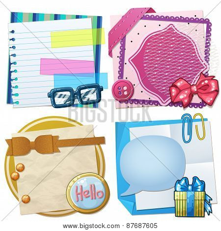 Set of paper frames and scrapbooking backgrounds