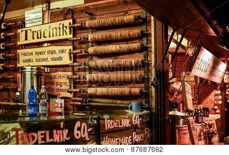Prague, Czech Republic, 22.12.2014. Czech National Winter Street Food Called Trdlo (trdelnic)