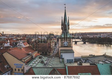 Prague, Czech Republic, Central Europe, 25.12.2014: The View From The Top Of The Charles Bridge Towe