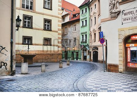 One of the narrow medieval streets in Prague