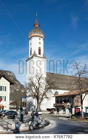 A church in small town in Bavarian Alps