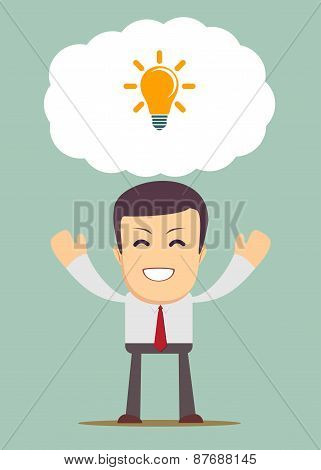 Creative young cartoon businessman as a symbol of having an idea