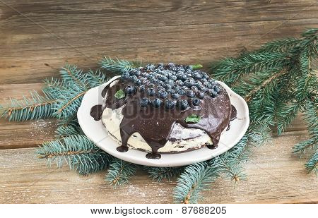 Christmas Chocolate Cake With Chocolate Ganache, Cream-cheese Filling, Fresh Blueberries