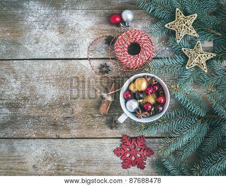 Christmas (new Year) Decoration Background: A Cup Full Of Colorful Christmas Tree Toys, Cinnamon Sti