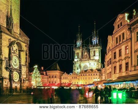 Prague Old Town Square During Christmas Time, Night Scape