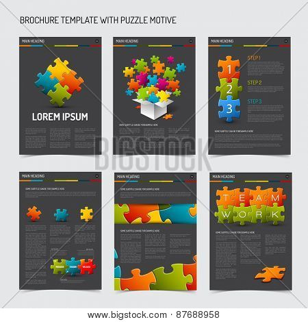Set of modern brochure flyer design templates with puzzle elements - dark gray version