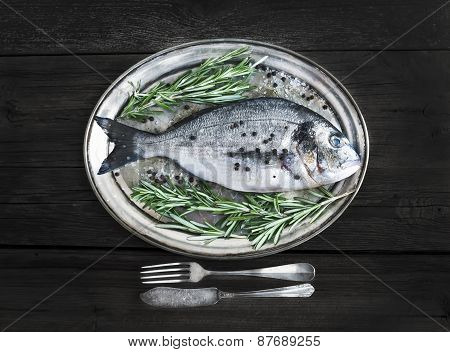 Fresh Sea Fish (sea Bream) On A Metal Dish With Rosemary And Spices Ready For Cooking