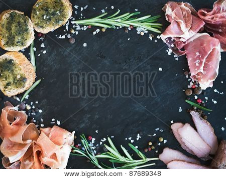 Wine Meat Appetizer Set: Prosciutto, Serrano And Cured Lamb Meat Selection With Spices, Herbs And Ba